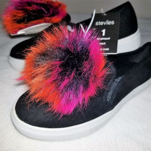 9aaba752ed3 Stevies BRIGHTEYED Fluffy Pom Pom Sneakers Black